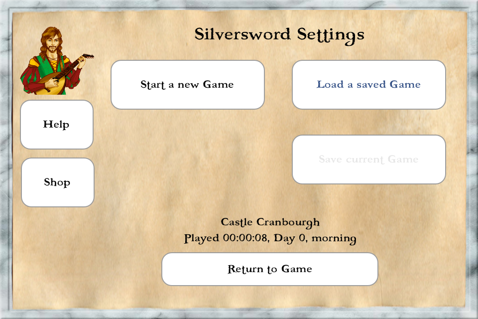 Silversword Settings Screen