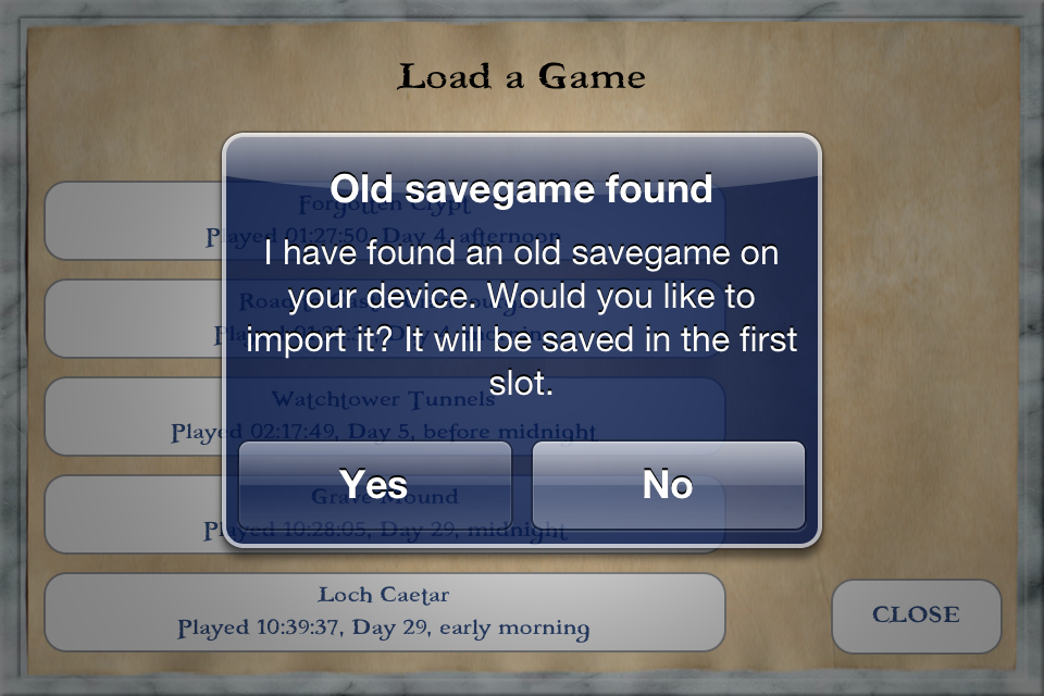 Import saved game