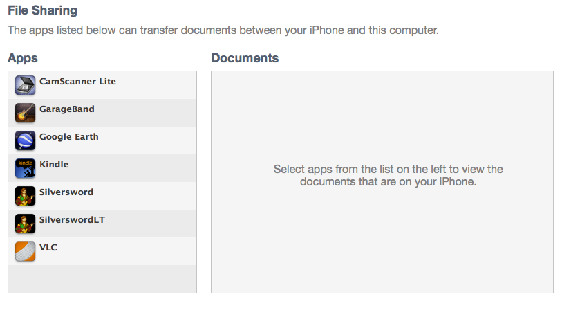 File Sharing options in iTunes